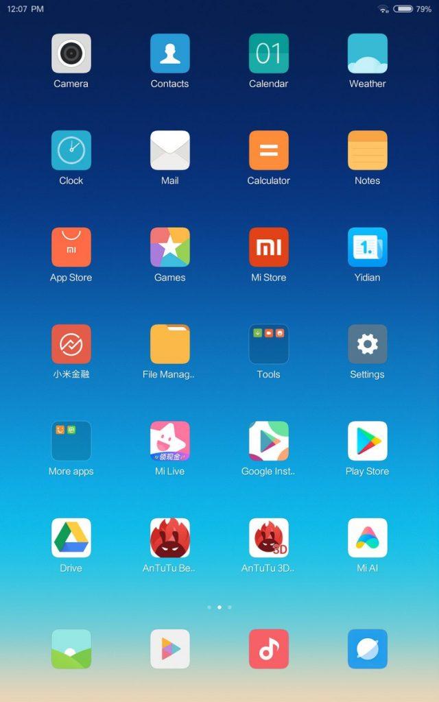 máy tính bảng xiaomi mi pad 4 giao diện