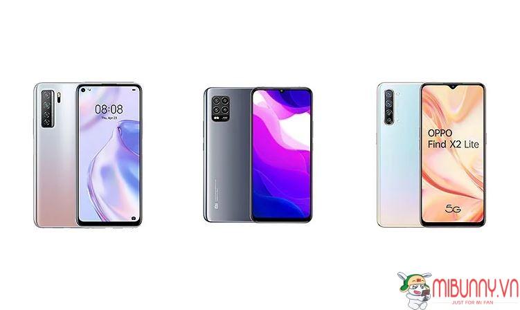 so sánh Huawei P40 Lite, Xiaomi Mi 10 Lite vs Oppo Find X2 Lite