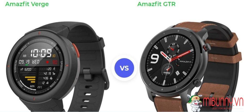 so sánh Amazfit Verge vs Amazfit GTR
